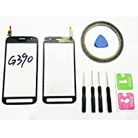 JRLinco ForSamsung Galaxy Xcover 4 2017 SM G390 G390F G390YGlass Screen Display Touchscreen Replacement part(Without LCD) For Black + Tools & Double-sided adhesive + Cleaning alcohol Wiping package