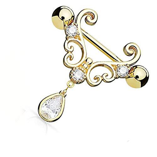 creatspaceDE Wasser-Tropfen baumeln Piercing Ring Sexy Frauen-Dame-Nippel-Ring Allergie-freie Edelstahl-Körper-Piercing-Schmuck Farbe: gold