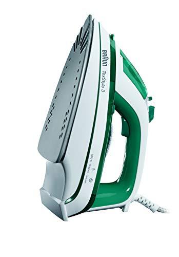 Braun TS345 - Plancha ropa vapor, 2000w, suela cerámica, 300ml capacidad agua, control vapor variable, blanco y verde
