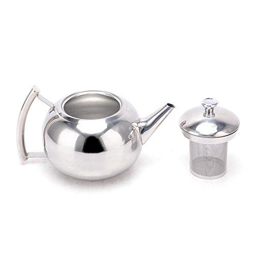 Belmont Deluxe Edelstahl Teekanne, Edelstahl, Stainless Steel Teapot Handle, 1500ml