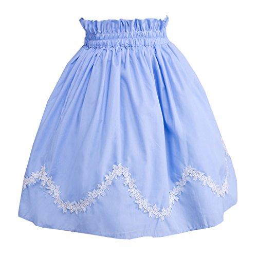 Partiss Damen Blue Scalloped Lace Lolita Rock Skirt S Blue (Victorian Brautkleid Lace)