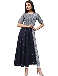 [Sponsored]Jaipur Kurti Women's Cotton Flared Long Kurta With Embroidery (Indigo)