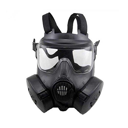 Maschera protettiva tattica M50 per softair e paintball, design doppia ventola, nera