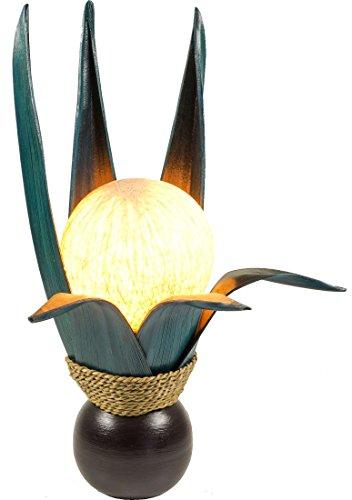 Guru-Shop Palm Leaf Lámpara de Mesa/lámpara de Mesa Lotus, Hecha a Mano en Bali de Material Natural, Madera de Palma - Modelo Palmera 8 Gasolina, Hojasdepalma, 47x26x26 cm