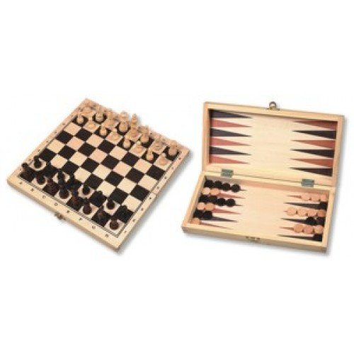 H O T Games - Set de ajedrez, backgammon y damas (plegable) Estuche de madera.