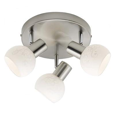 Brilliant Bona Spotrondell, 3-flammig, 3x E14 maximal 40W, Metall/Glas, eisen / weiß 10534/05 von Brilliant auf Lampenhans.de