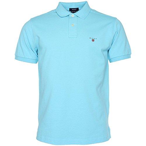 GANT Herren Poloshirt SOLID PIQUE Rugby Short Sleeve Gr. XXL, türkis / blau (Pique-rugby)