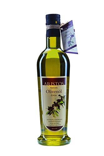 ARISTOS kaltgepresstes natives Olivenöl extra sortenrein Koroneiki naturtrüb Griechenland frische Ernte Dez 2017 (1x 500ml)