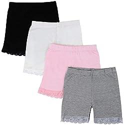 Kidear 3-12 Ans Filles Couleur Unie Dentelle Boyshort sous-Vêtements Sécurité Robe Culotte (Lot de 4) (Style1, 10-12 Ans)
