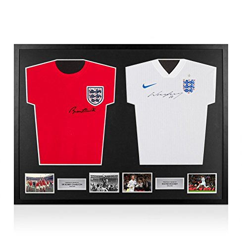 Framed-Sir-Bobby-Charlton-Wayne-Rooney-Signed-England-Shirts-Dual-Framed