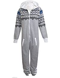 UNISEX MENS WOMENS AZTEC PRINT ONESIE ZIP UP ALL IN ONE HOODED JUMPSUIT S M L XL (SMALL, Silver Grey)