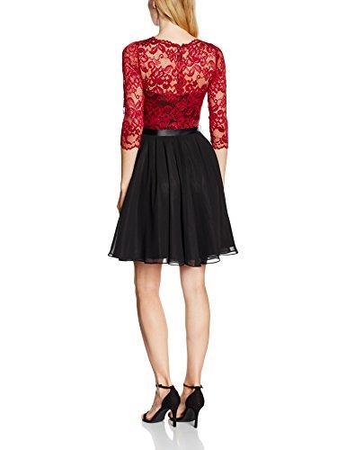 Swing Damen langärmliges Spitzenkleid mit Satinband, Mehrfarbig (Black/Red 1062), 40 -