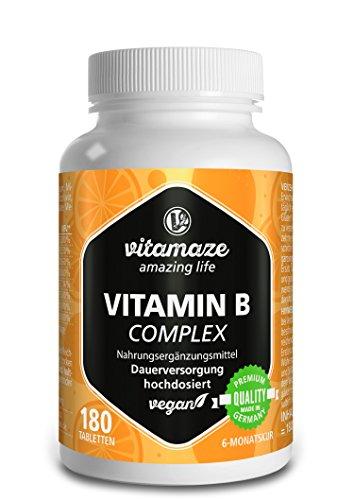 B-50 B-complex Vitamin (Vitamin B Komplex hochdosiert vegan 6 Monatsvorrat Vitamin B1, B2, B3, B5, B6, B7, B9, B12 Qualitätsprodukt-Made-in-Germany ohne Magnesiumstearat, jetzt zum Aktionspreis und 30 Tage kostenlose Rücknahme! 1er Pack (1 x 36 g))
