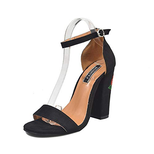 EARIAL& Women's Sandals 2019 Fashion Summer Ankle Strap High Heel Sandals Embroidery Floral Shoes Women Heels 2025 Black 37