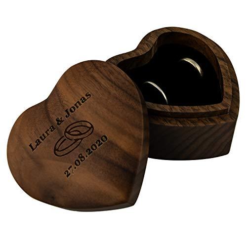 Geschenke 24 Herz Ringbox mit Gravur (Ringe, Walnussholz) - gravierte Ringschatulle in Herzform für das Brautpaar - personalisiert mit Namen und Datum oder Wunschgravur zur Hochzeit oder Verlobung
