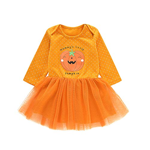 Jersey Kostüm Girl Idee - INLLADDY Kleid Baby Girl Madchen Kürbis Muster Brief drucken Langarm Tutu Prinzessin Kleid Halloween-Kostüm 3-41 Monate Orange 90