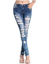 Longra ♣ Pantalones Vaqueros Mujer Desgastados Azul Pitillo Otoño 2017 Elásticos