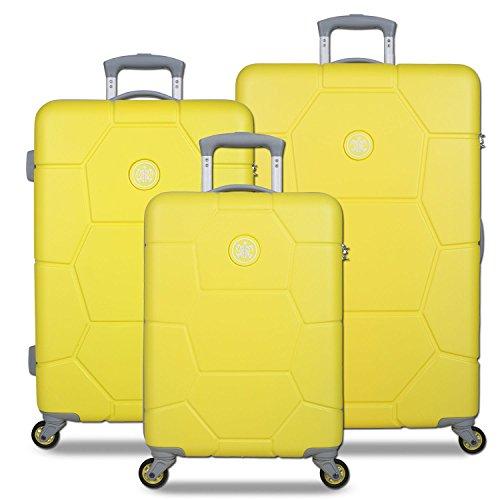 SuitSuit Caretta 3er Koffer-Set Trolley-Set Rollkoffer Reisekoffer, 4 Rollen, Zahlenschloss (Blazing Yellow)