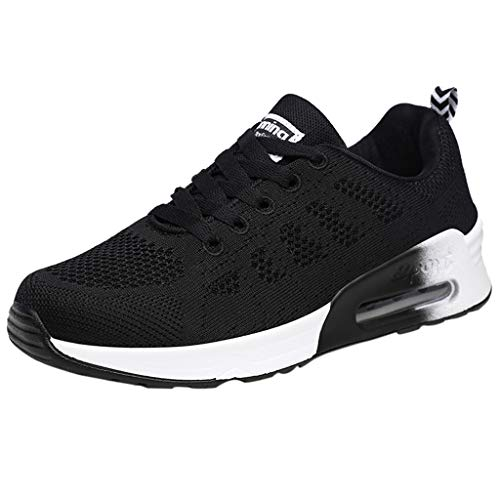 Saihui Laufschuhe Damen Sneakers Netz Gym Schuhe Air Luftkissen Turnschuhe Leichtes Bequem Sportschuhe Cushion Schuhe Fitness Gym Sneaker (EU:35, Schwarz)