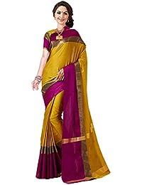 Perfectblue Cotton Silk Saree with Blouse Piece (Mehndipurplevisva_Mehndi_Free Size)