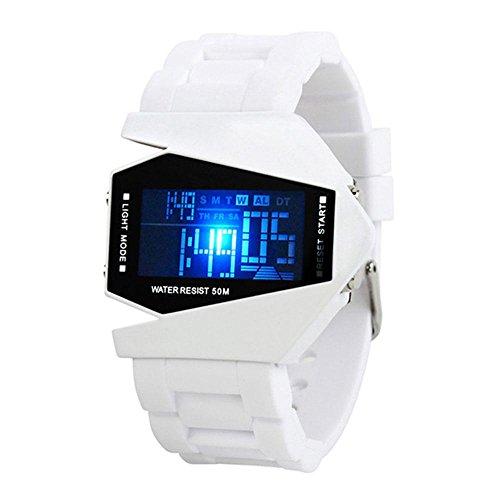 Aolvo, orologio sportivo da uomo, impermeabile, elettronico, digitale, alla moda e creativo, a forma di aeroplano, con luce colorata a LED, bianco, Standard