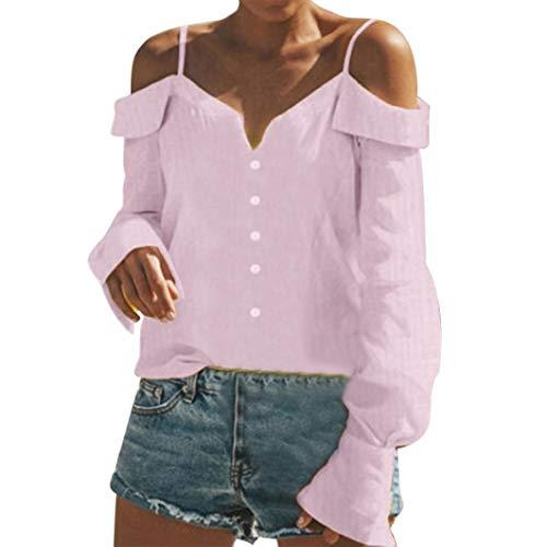 (Subfamily Frauen Damen aus der Schulter V-Hals Lange Ärmel Reine Farbe Tops Lockere Bluse Shirt Schulterfrei Träger Bluse Sexy Shirt Reine Farben V Ausschnitt)
