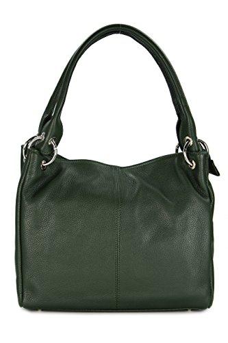 Belli ital. Leder Schultertasche Damentasche Handtasche Shopper Lilly in grün - 33x28x14 cm (B x H x T) -