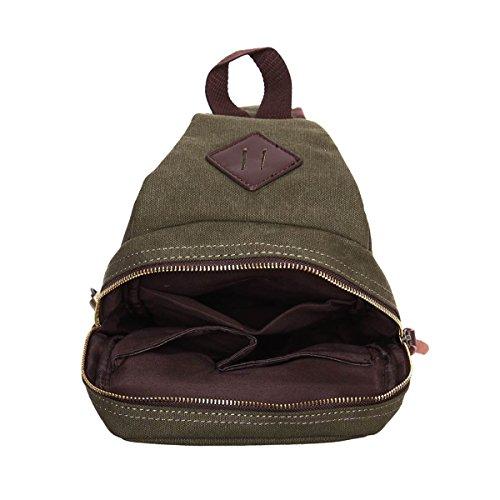 Eshow Herren Canvas Freizeit Sport Brusttasche Umhägentasche Taschen, Grün Grün