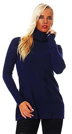 10364 Fashion4Young Damen Strick Minikleid LongPullover Pullover Pulli Kleid in 6 Farben Rollkragen (36/38, Dunkelblau)