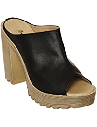 Bruno Manetti Women Faux Leather Block Block Heels