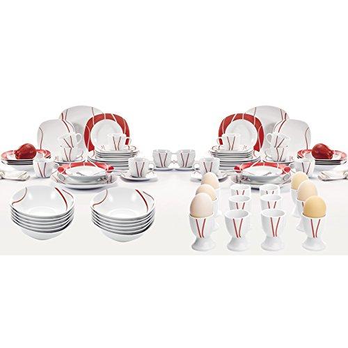 Malacasa, Serie Felisa, 84 teilig Set Porzellan Tafelservice mit 12 Flachteller, 12 Kuchenteller, 12 Suppenteller, 12 Tasse, 12 Untertasse, 12 Schüsseln, 12 Eierbecher für 12 Personen