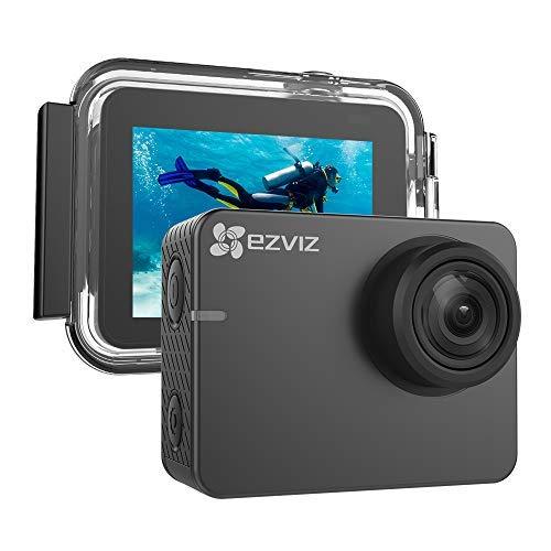 EZVIZ 4K Action Cam для спорта на открытом воздухе. Водонепроницаемость до 40m. Камера для подводного использования с ЖК-дисплеем 2 с широким углом обзора 150 °. Режим слабой освещенности. Встроенный WiFi и Bluetooth. Модель S3