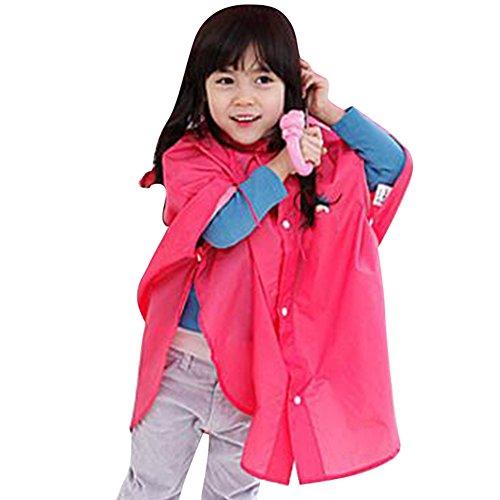 Botetrade Baby-Kind-Regen-Poncho mit Kapuze Poncho wasserdichte Klage-Größe 80-100cm (S / Red)