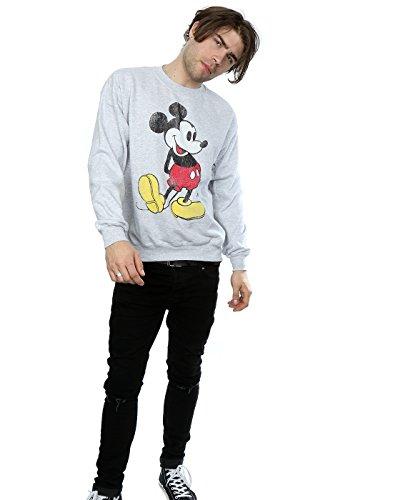 Disney Herren Mickey Mouse Classic Kick Sweatshirt Heather Grey