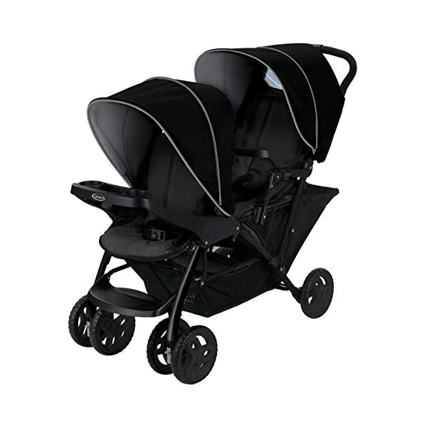 Graco Stadium Duo Click Connect Tandem Pushchair, Black/Grey Graco Compatible with all graco click connect car seats, which can be easily added to the tandem chassis with just one click. Folded-Length:66cm, Height: 109cm Convenient one-hand standing fold, featuring an automatic storage latch that folds effortlessly. Maximum weight capacity is 15 Kg. Stadium-style seating positions with slightly higher rear seat, so that both children can see the world around them 1