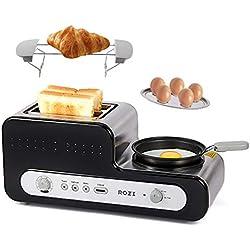 Rozi Grille Pain 5 en 1 avec Poêle Grille Pain Multifonction 2 Tranches , Fabricant Automatique de Petit-déjeuner Cuisson Au Four / Vapeur / Ébullition / Cuisson, 1230W (Noir)