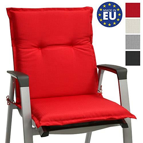 Beautissu Niedriglehner Gartenstuhl Auflage Base NL 100x50x6cm Sitzkissen Rückenkissen Stuhlkissen für Gartenstühle Sitzpolster Rot