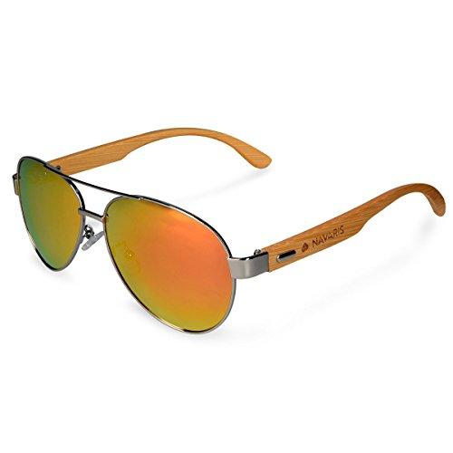 Navaris Fliegerbrille Piloten Sonnenbrille polarisiert - UV400 Holz Pilotenbrille - Unisex Brille...
