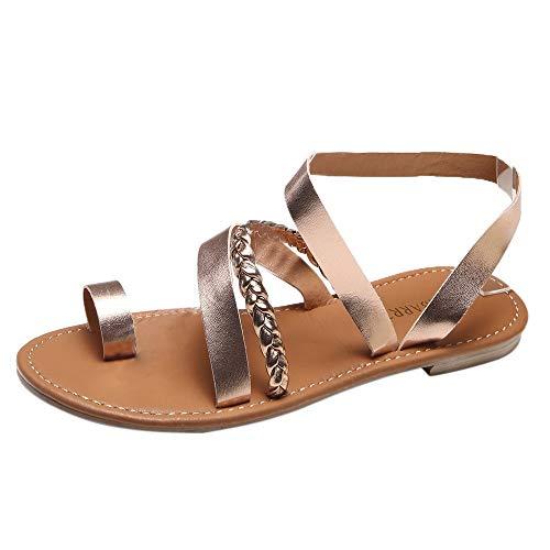 hmtitt Frauen Sommer Knöchelriemen Gummiband Gladiator Roma Schuhe Niedrige Flache Schuhe Flip-Flops Strand Sandalen Schuhe für Frauen