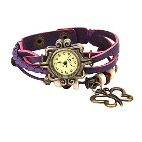Bonjouree Bracelets Femmes en Simili-Cuir Tisse de Papillon Poignet Montre Quartz (Violet)