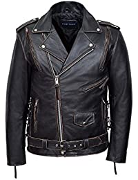 'EMBOSSED EAGLE' Men's BLACK DISTRESSED Live To Ride Motorcycle Leather Jacket