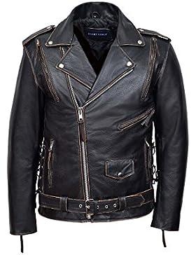 Chaqueta de piel para hombre Distressed color negro con los bordes marron clarro, estilo motero de carretera,...