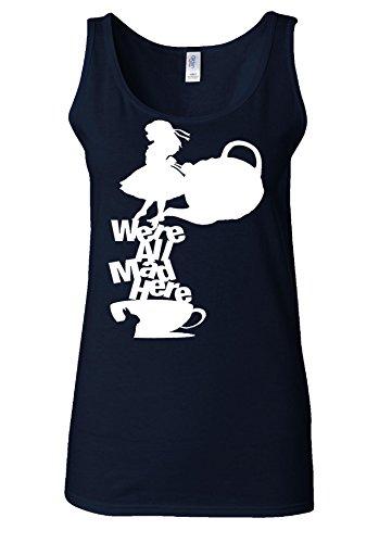 Disney Alice in Wonderland Tea All Mad Here White Women Vest Tank Top Bleu Foncé