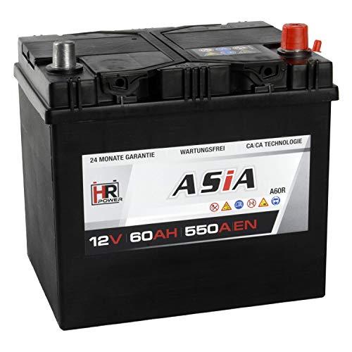 HR HiPower ASIA Autobatterie 12V 60Ah Japan Pluspol Rechts Starterbatterie ersetzt 40Ah 50Ah 65Ah 70Ah