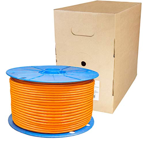 PremiumX 100m Duplex CAT.7 Verlegekabel Netzwerkkabel Gigabit 10Gbit Kabel Installationskabel 1000Mhz SFTP S/FTP CAT7 Datenkabel PIMF 4x2xAWG23/1 Twin Verkabelung Ethernet LAN Orange -