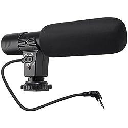 Micrófono para Cámaras, EIVOTOR Micrófono Externo y Estéreo para Videocámara y Cámara de Fotos Réflex con MIC Jack de 3.5 mm