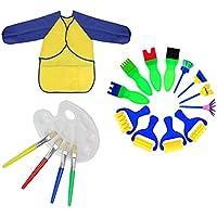 KenSpirit Esponja Pinceles de Pintura y Paleta y Delantal Herramientas de Pintura para Aprendizaje Temprano de Niños, DIY, Artesanía Arte (18 Piezas)