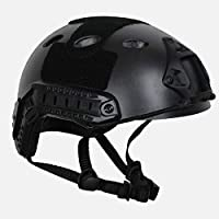 COZYJIA Tactical Army Estilo Militar PJ Tipo SWAT Combat Fast Helmet con Goggles Montaje en NVG y riel Lateral para CQB Tiro Airsoft Paintball (Negro)