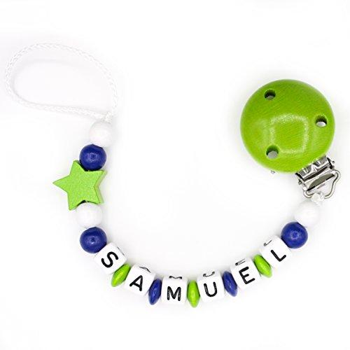 """Schnullerkette """"Mundspiel"""" mit Namen - Junge - grün - Geschenk zur Geburt oder Taufe (Samuel)"""