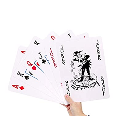 GrassVillage A4 Jumbo Giant Plastic Coated Playing Cards Deck Family Party Game Indoor Outdoor Garden BBQ Xmas